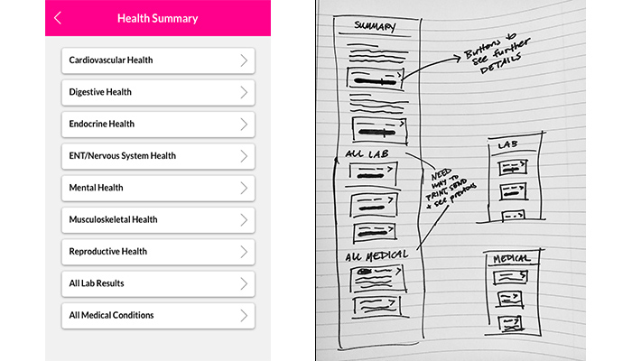 Health Summary first iteration and sketches for next round