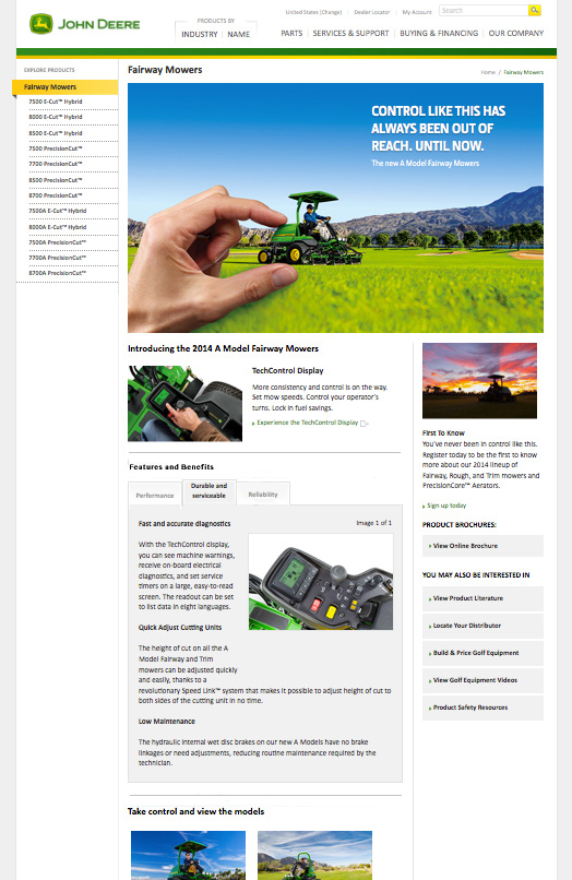 John Deere Golf page that directs user to TechControl responsive web experience